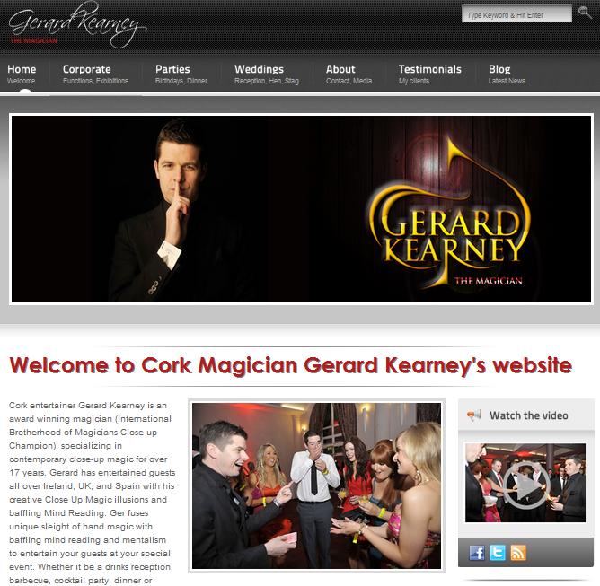Cork Magician Gerard Kearney homepage
