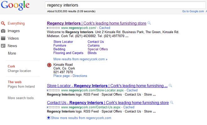 Regency Search Results in Google